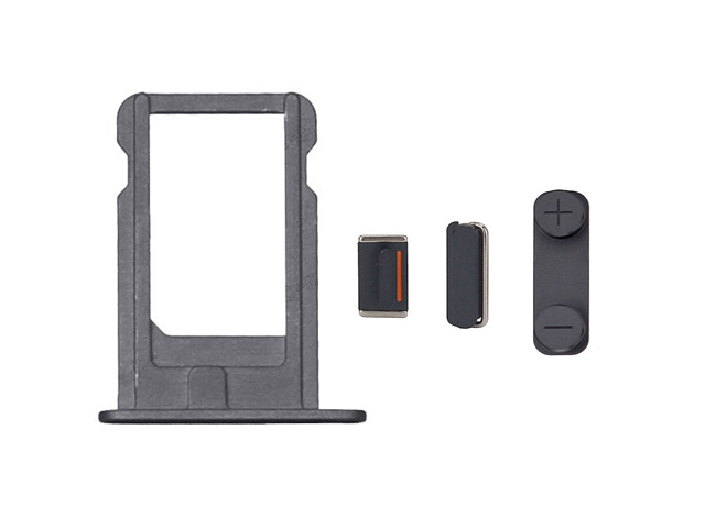 Replacement Part for Apple iPhone 5 SIM Card Tray+Side Key Set - Black - A Grade