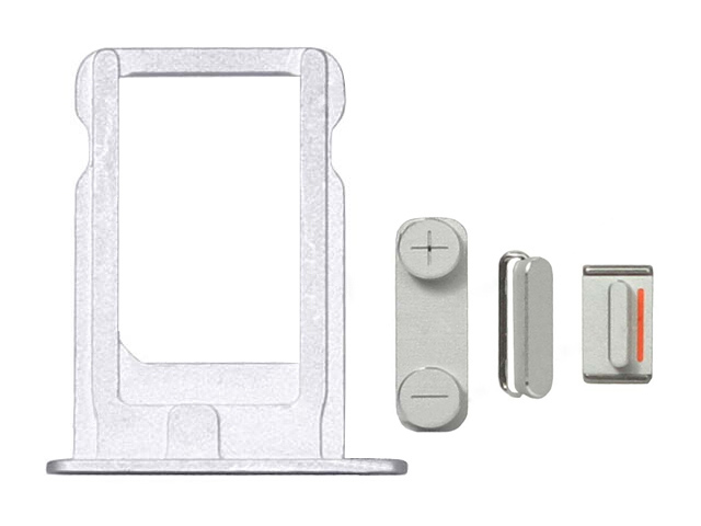 Replacement Part for Apple iPhone 5 SIM Card Tra+Side Key Sety - Silver - A Grade